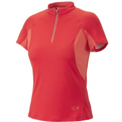 Mountain Hardwear Aliso Shirt - Zip Neck, UPF 25, Short Sleeve (For Women) in Poppy Red