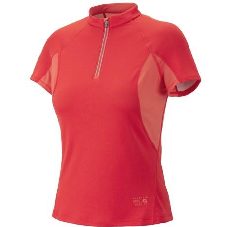 Mountain Hardwear Aliso Shirt - Zip Neck, UPF 25, Short Sleeve (For Women) in Poppy Red