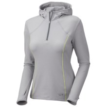 Mountain Hardwear Beta Power Hoodie Shirt - Zip Neck, Long Sleeve (For Women) in Steam - Closeouts