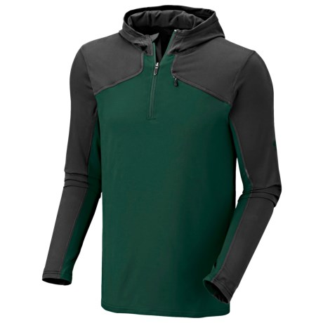 Mountain Hardwear Butter Man Hoodie - Color-Block, UPF 50 (For Men) in Pine Tree