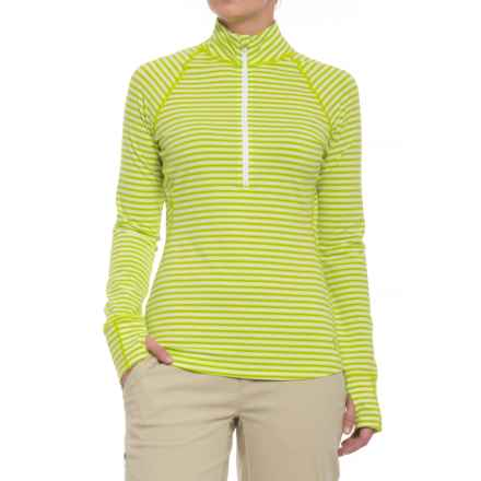 Mountain Hardwear Butterlicious Stripe Pullover Shirt - UPF 50+, Zip Neck, Long Sleeve (For Women) in Fresh Bud - Closeouts