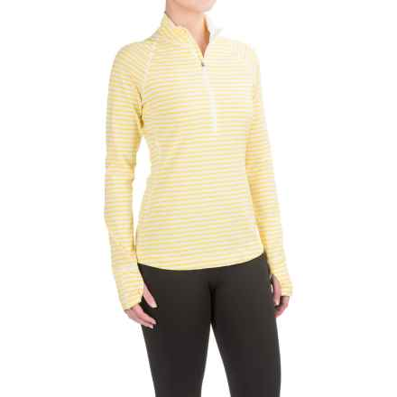 Mountain Hardwear Butterlicious Stripe Pullover Shirt - UPF 50+, Zip Neck, Long Sleeve (For Women) in Lemon Twist - Closeouts