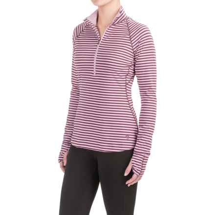 Mountain Hardwear Butterlicious Stripe Pullover Shirt - UPF 50+, Zip Neck, Long Sleeve (For Women) in Purple Plum - Closeouts