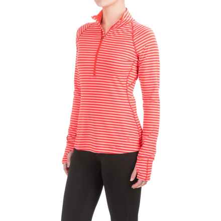 Mountain Hardwear Butterlicious Stripe Pullover Shirt - UPF 50+, Zip Neck, Long Sleeve (For Women) in Red Hibiscus - Closeouts