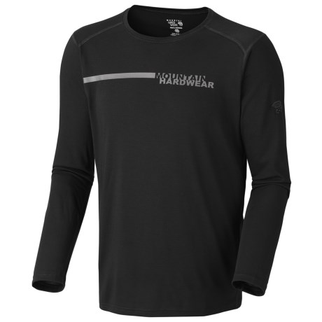Mountain Hardwear Cliffer Color-Block T-Shirt - Long Sleeve (For Men) in Black/Grey Logo