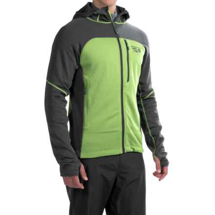 Mountain Hardwear Desna Grid Hooded Jacket - Polartec® Power Dry® (For Men) in Cyber Green - Closeouts