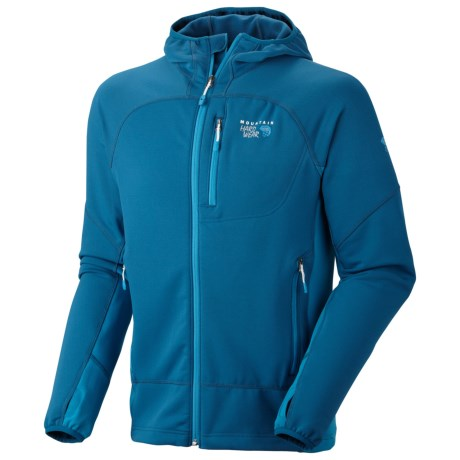Mountain Hardwear Desna Hooded Jacket - Polartec® Power Stretch® (For Men) in Lagoon/Capris