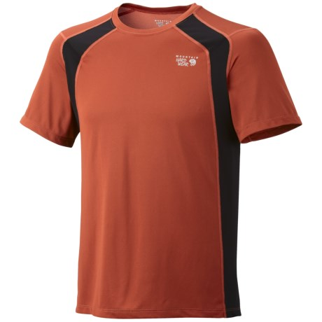 Mountain Hardwear Double Wicked Lite T-Shirt - Short Sleeve (For Men) in Russet Orange/Black