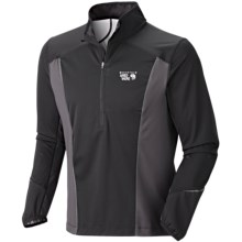 Mountain Hardwear Effusion Power Pullover - Soft Shell, Zip Neck (For Men) in Black - Closeouts