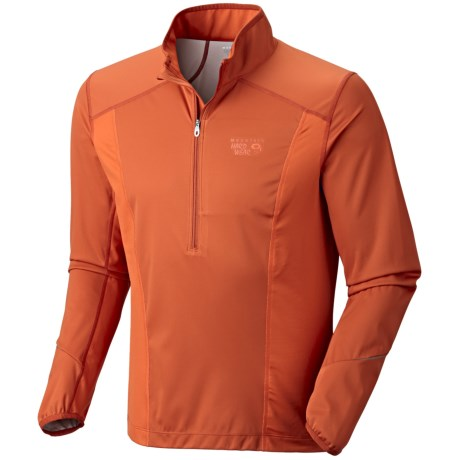 Mountain Hardwear Effusion Power Pullover - Soft Shell, Zip Neck (For Men) in Russet Orange