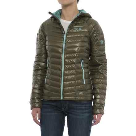 Mountain Hardwear Ghost Whisperer Q.Shield® Down Hooded Jacket - 800 Fill Power (For Women) in Stone Green - Closeouts