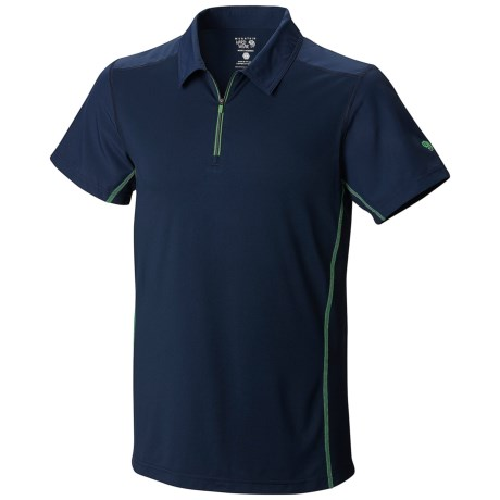 Mountain Hardwear Justo Trek Polo Shirt - UPF 50, Short Sleeve, Zip Neck (For Men) in Collegiate Navy
