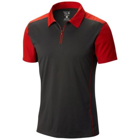Mountain Hardwear Justo Trek Polo Shirt - UPF 50, Short Sleeve, Zip Neck (For Men) in Shark/Flame