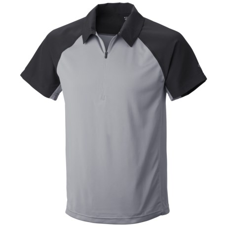 Mountain Hardwear Justo Trek Polo Shirt - UPF 50, Short Sleeve, Zip Neck (For Men) in Steam