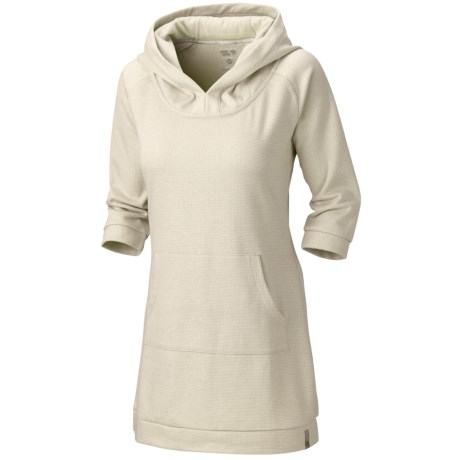 Mountain Hardwear Lampira Tunic Dress - Hooded, 3/4 Sleeve (For Women) in Snow