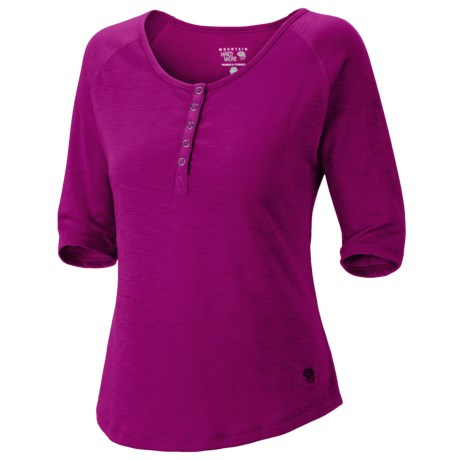 Mountain Hardwear Lochvale Henley Shirt - Slub Jersey, Elbow Sleeves (For Women) in Poppy Red