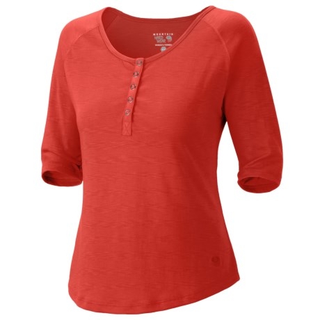 Mountain Hardwear Lochvale Henley Shirt - Slub Jersey, Elbow Sleeves (For Women) in Poppy Red