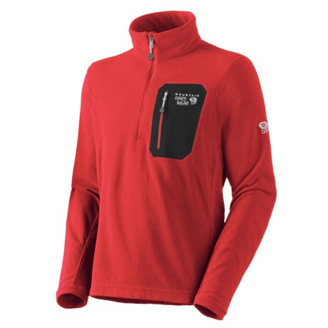 Mountain Hardwear Micro Grid Pullover Shirt - Zip Neck, Long Sleeve (For Men) in Bright Red