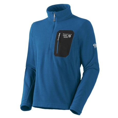 Mountain Hardwear Micro Grid Pullover Shirt - Zip Neck, Long Sleeve (For Men) in Empire Blue