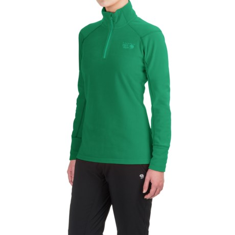 Mountain Hardwear MicroChill 2.0 Fleece Shirt - UPF 50, Zip Neck, Long Sleeve (For Women) in Green Mile