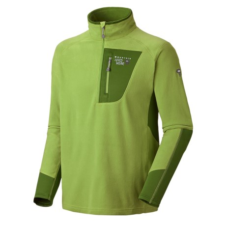 Mountain Hardwear MicroStretch Zip Pullover Shirt - Fleece (For Men) in Greenery/Jungle