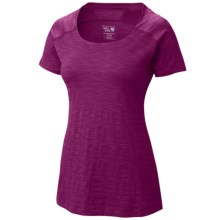 Mountain Hardwear Mighty Stripe T-Shirt - Short Sleeve (For Women) in Red Plum - Closeouts