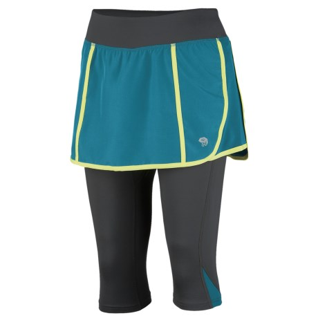 Mountain Hardwear Pacer 2-in-1 Skeggin Running Skort (For Women) in Graphite/Candy Mint