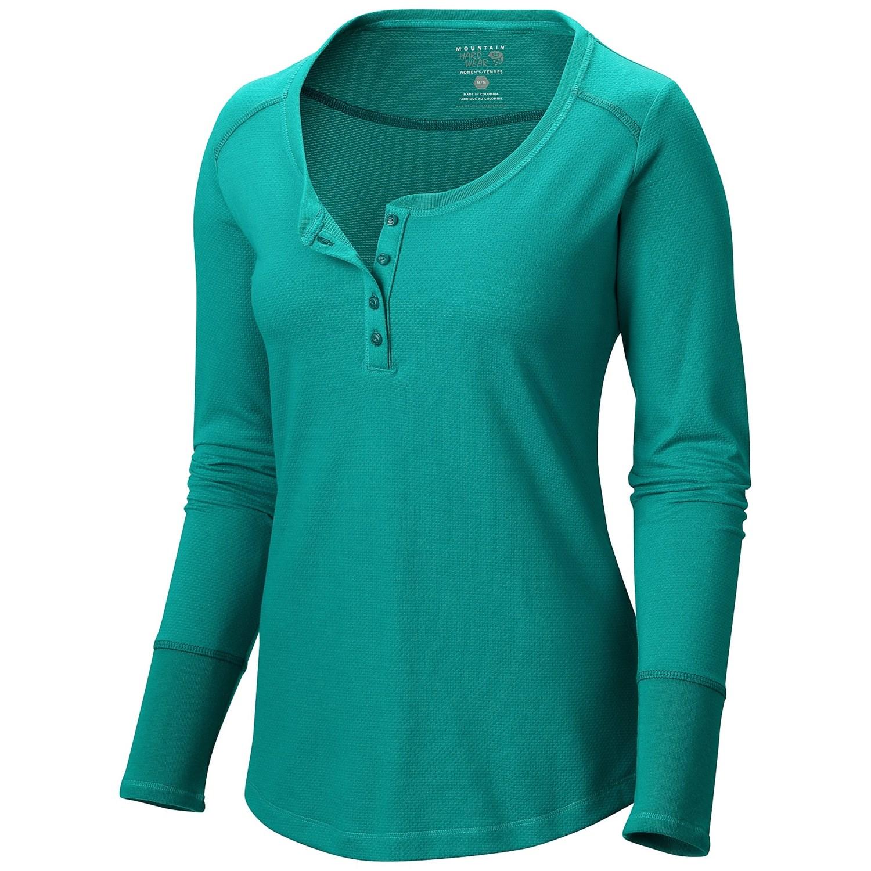 Mountain hardwear pindari thermal wick q henley shirt for Thermal shirt for women