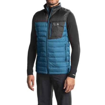 Mountain Hardwear Q.Shield® Dynotherm Down Vest - 650 Fill Power, Full Zip (For Men) in Phoenix Blue/Black - Closeouts