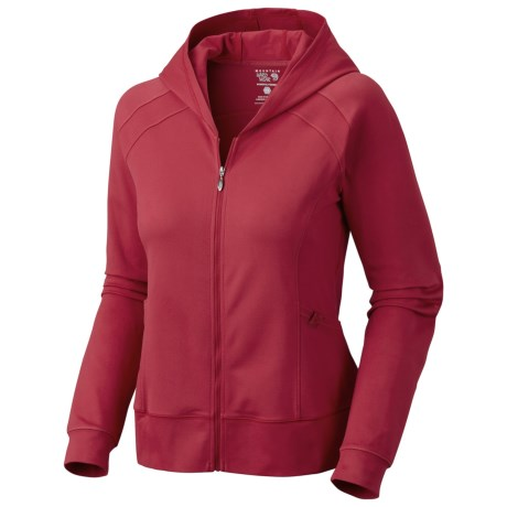 Mountain Hardwear Roga Butter Hoodie Sweatshirt - UPF 50, Full Zip (For Women) in Ruby