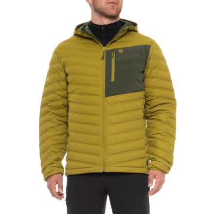 Mountain Hardwear StretchDown Q.Shield® Hooded Jacket - 750 Fill Power (For Men) in Python Green - Closeouts