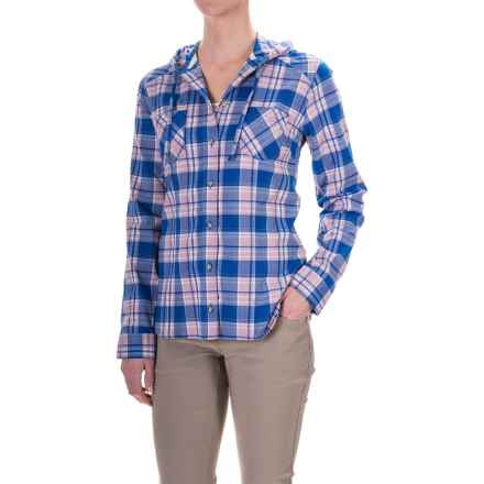 Mountain Hardwear Stretchstone Hooded Flannel Shirt - Long Sleeve (For Women) in Bright Island Blue - Closeouts