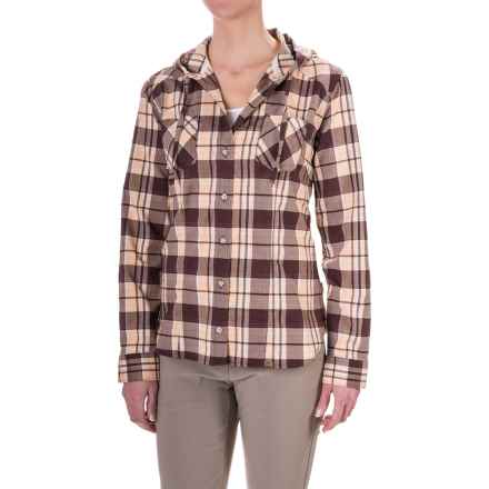 Mountain Hardwear Stretchstone Hooded Flannel Shirt - Long Sleeve (For Women) in Purple Plum - Closeouts