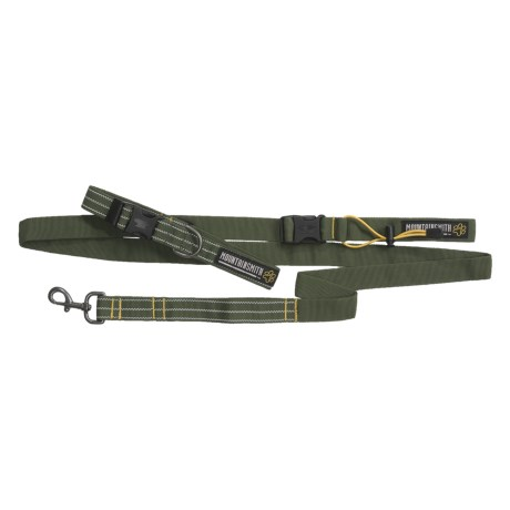Mountainsmith K-9 Collar and Leash - Medium/Large, Recycled Materials in Pinon Green