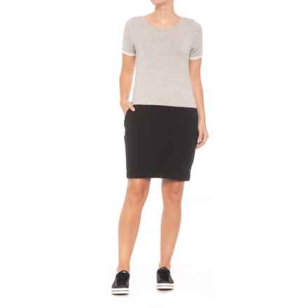 MOVEMENT French Terry Color-Block Dress - Short Sleeve (For Women) in Heather Grey - Closeouts