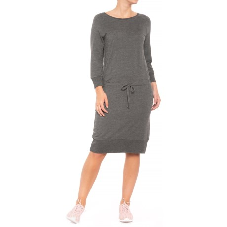MOVEMENT French Terry Dress - Long Sleeve (For Women) in Charcoal