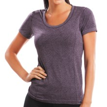 Moving Comfort Flex T-Shirt - Short Sleeve (For Women) in Berry Heather - Closeouts