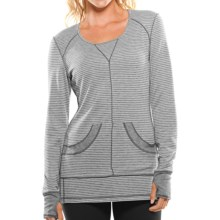 Moving Comfort Flipside Shirt - Reversible, Long Sleeve (For Women) in Crème Stripe/Slate Heather - Closeouts