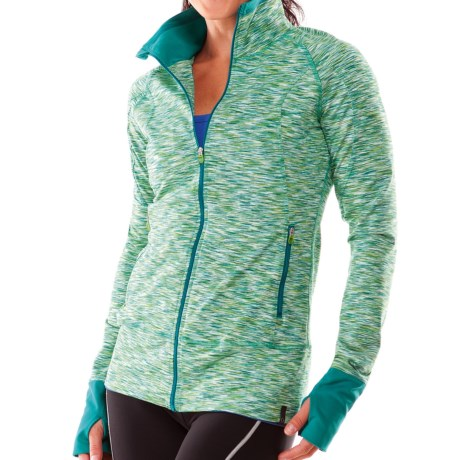 Moving Comfort Foxie Shirt - Full Zip, Long Sleeve (For Women) in Jade Melange