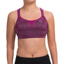 Moving Comfort Rebound Racer Sports Bra - High Impact, Racerback (For Women) in Currant Jacquard - Closeouts