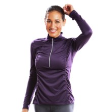 Moving Comfort Sprint Shirt - Zip Neck, Long Sleeve (For Women) in Berry - Closeouts