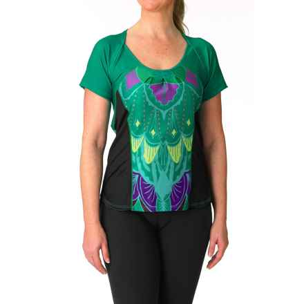 Moxie Cycling Cadence Wrap Tee Cycling Jersey - UPF 50+ (For Women) in Emerald/Violet/Lime - Closeouts