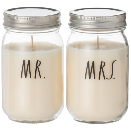 Mr. and Mrs. Mason Jar Candles - Set of 2, 10 oz.