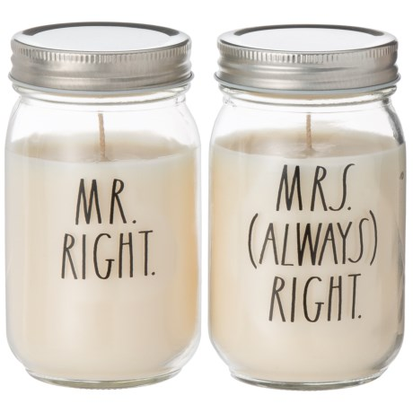 Mr. Right and Mrs. (Always) Right Mason Jar Candles - Set of 2, 10 oz.