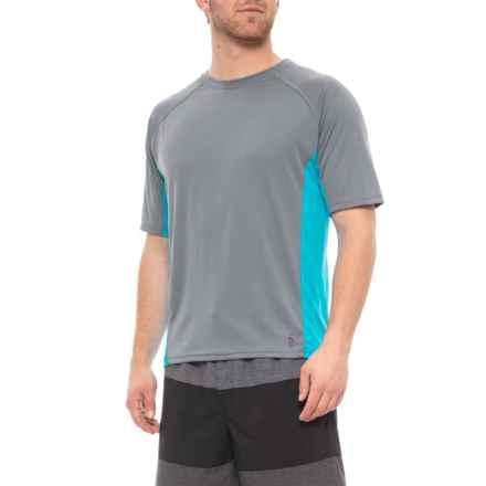 ed4f63f02114d Mr. Swim Charcoal-Turquoise Side-Panel Swim T-Shirt - UPF 50