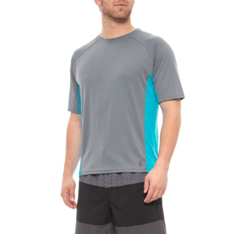 6ff2ca75da Mr. Swim Charcoal-Turquoise Side-Panel Swim T-Shirt (For Men) - Save 44%