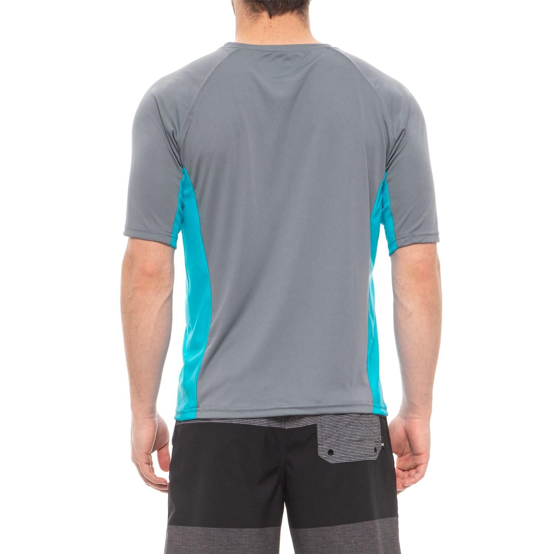 b7e1430cc2 Mr. Swim Charcoal-Turquoise Side-Panel Swim T-Shirt - UPF 50+, Short Sleeve  (For Men)