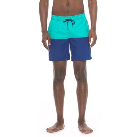 Mr. Swim Color-Block Boardshorts (For Men) in Aqua/Blue