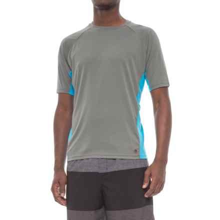 Mr. Swim Color-Block Swim Shirt - UPF 50+, Short Sleeve (For Men) in Grey/Turquoise - Closeouts