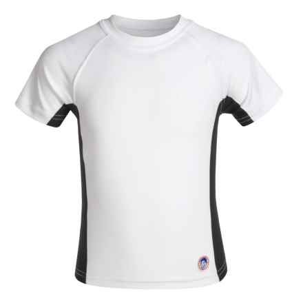 Mr. Swim Side-Panel Rash Guard - UPF 50+, Short Sleeve (For Big Boys) in White/Black - Closeouts